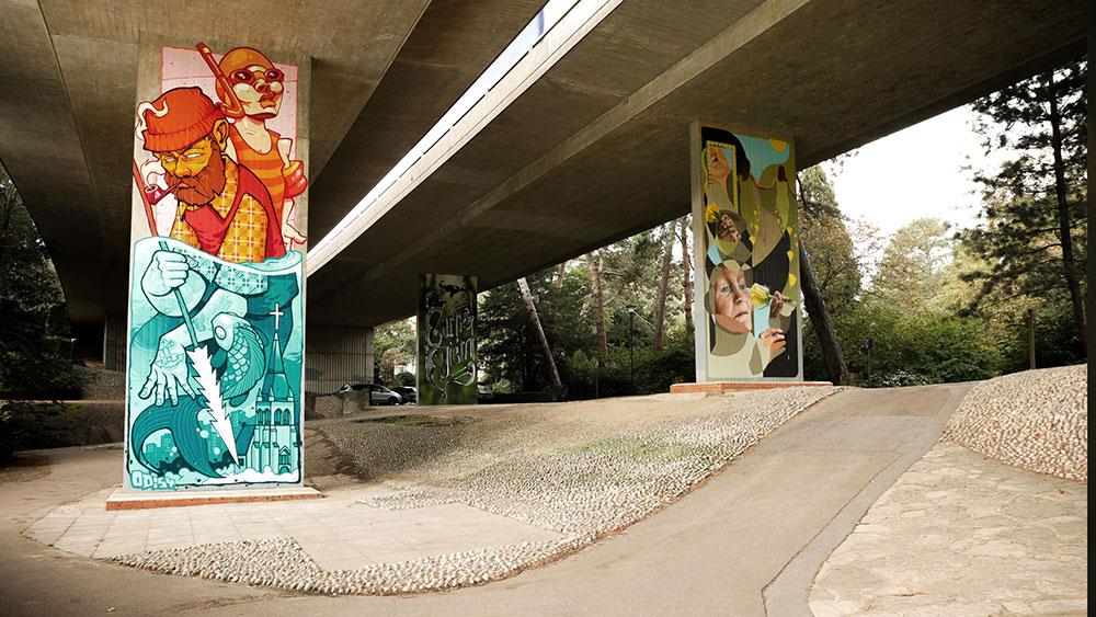 Street art gallery under the bridge