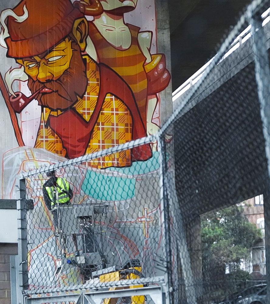 Alex Odisy mural for street art gallery - Upside Gallery
