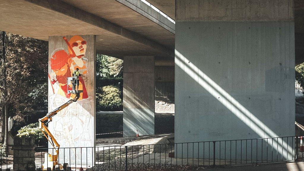 Street art gallery in underpass in Bournemouth