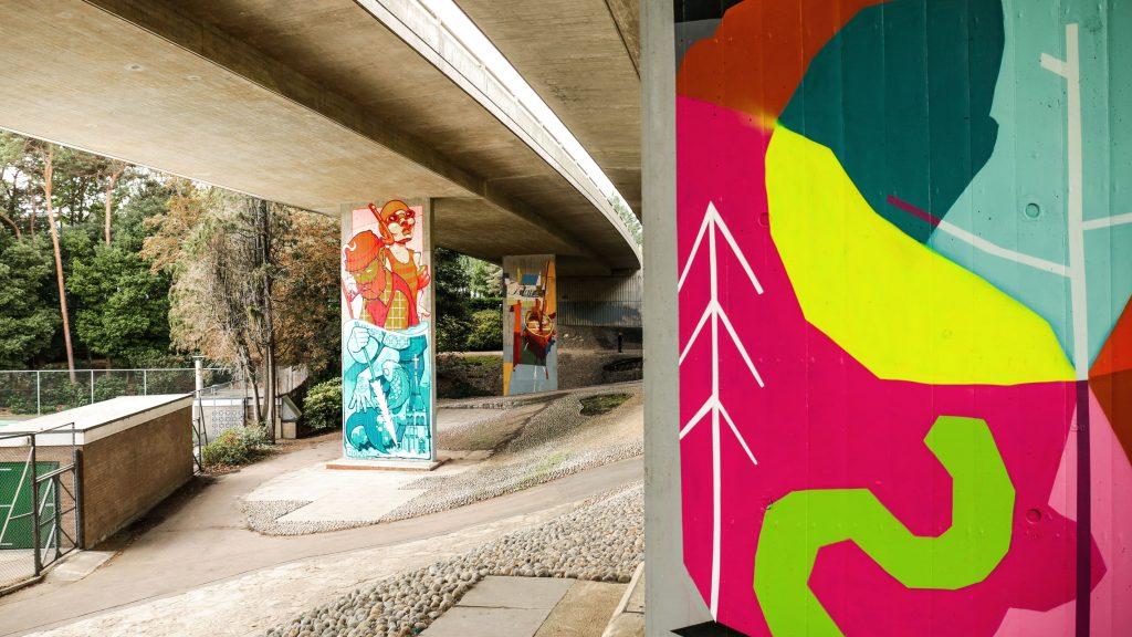 Street artist Squirlart mural at Upside Gallery