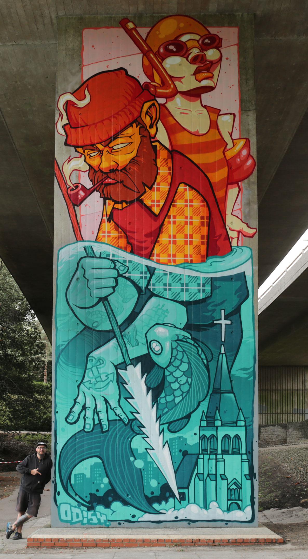 Tattoo artistAlex Odisy graffiti mural at Upside Gallery
