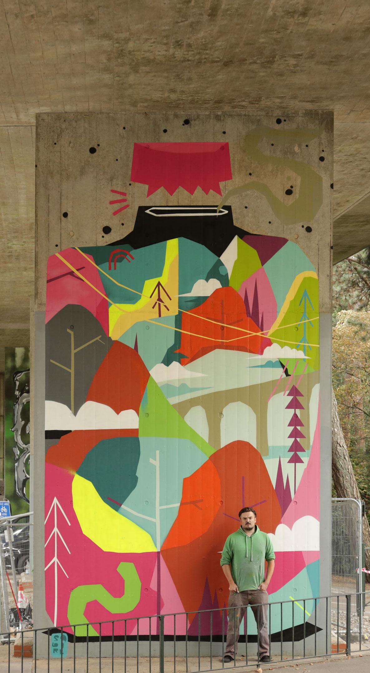 Graffiti artist Squirl mural at Upside Gallery